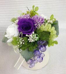 プリザーブドフラワー プリザ バラ 紫 カスミ アジサイ クリスタルブドウ