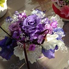 プリザーブドフラワー プリザ 紫バラ アジサイ カスミ