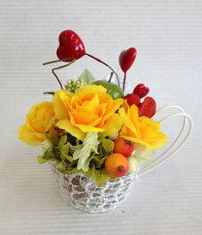黄アートフラワー リンゴ ハートピック