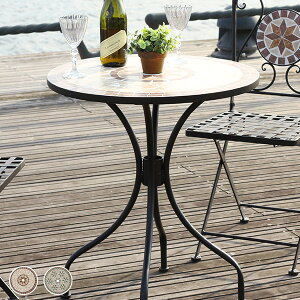 【送料無料】モザイクテーブル ガーデンテーブル ガーデン家具 ガーデン 庭 スチール 直径61cm 丸天板 モザイク柄 テーブル 星柄 ガーデンファニチャー アウトドア テラス キャンプ用品 ベラ