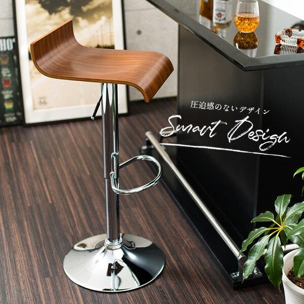 【送料無料】シンプルカウンターチェア バーチェア デザインチェア シンプルチェア 椅子 イス チェア カウンターチェア 360度回転 ガス圧昇降機能 足置き 滑り止め付き プライウッド プラントン