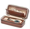 高級腕時計収納ケース 2本収納 ブラウン PU 腕時計ケース 腕時計  時計 ケース ファスナー 持ち運び 保護 …