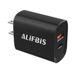【Alifbis】正規品 USB-C 急速充電器 C+A 2ポート pd 充電器 20W ACアダプター USB充電器 ACアダプタ PD  急速充電 同時に充電 コンパクト 持ち運びに便利 海外対応 小型 薄型 PD3.0 QC3.0 FCP、AFC、BC1.2対応 Typc-C AL-001