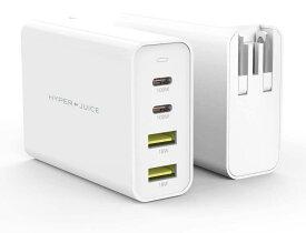 【Hyper】HyperJuice GaN 100W Dual USB-C/USB-A ACアダプタ【急速充電器 / 4台同時充電 / 世界最小クラス / PD3.0 / QC3.0 / 海外変換プラグ 付属/MacBook iPad iPhone 対応 / 4ポート/ 100ワット出力】HP-HJ-GAN100【日本正規代理店品】