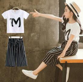 アパレル 子供服 女の子 洋服ベビー kids girls 新品夏服快適カジュアルスーツ かわいいデザイン半袖Tシャツとパンツ上下セット