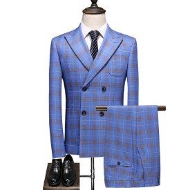 3ピーススーツ メンズ 紳士服 秋物 チェック柄  スリーピーススーツ メンズ ダブルスーツ 上下セットスーツ ベスト付き メンズテーラードジャケット+ボトムス+ベスト ネイビー 成人式 男性 紳士服 スーツ 男性 チェック柄 秋冬 ブルー 水色