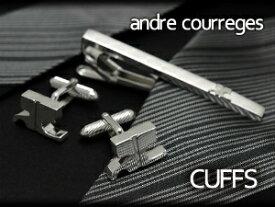 【andre courreges】アンドレ・クレージュ カフス ロゴ型 シルバー ACC6506 【セットではありません】