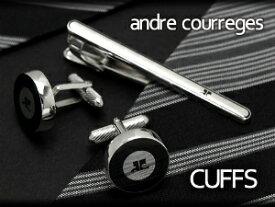 【andre courreges】アンドレ・クレージュ カフス 丸型 ブラック×シルバー ACC8001 【セットではありません】