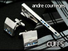 【andre courreges】アンドレ・クレージュ カフス ツートンブルー スワロフスキー CC6010 【セットではありません】