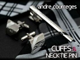 【andre courreges】アンドレ・クレージュ ネクタイピン&カフスセット ブラック×ホワイト ボーダー CT4005A-CC6005A【ネコポス不可】