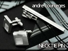 【andre courreges】アンドレ・クレージュ ネクタイピン ホワイト キャッツアイ CT4008 【セットではありません】