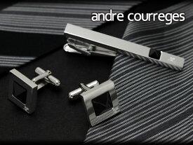 【andre courreges】アンドレ・クレージュ ネクタイピン&カフスセット マットブラック スワロフスキー CT4011-CC6011【ネコポス不可】