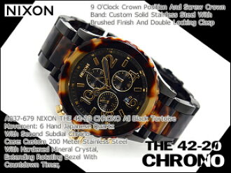 Nixon men's Chronograph Watch THE 42-20 CHRONO 42-20 Chrono tortoise black stainless steel A037-679