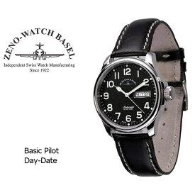 【ZENO WATCH】ゼノウォッチ パイロット Basic Pilot Day Date 自動巻き メンズ 腕時計 ブラック 12836DD-A1