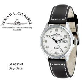 【ZENO WATCH】ゼノウォッチ パイロット Basic Pilot Day Date 自動巻き メンズ 腕時計 ホワイト 12836DD-E2