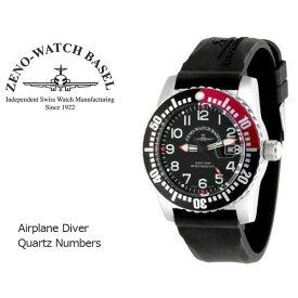 【ZENO WATCH】ゼノウォッチ ダイバーズ Airplane Diver Quartz Numbers クォーツ メンズ 腕時計 ブラック レッド 6349-515Q-12-A1-47