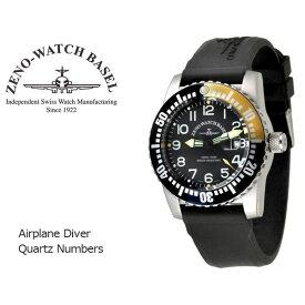 【ZENO WATCH】ゼノウォッチ ダイバーズ Airplane Diver Quartz Numbers クォーツ メンズ 腕時計 ブラック イエロー 6349-515Q-12-A1-9