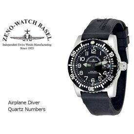 【ZENO WATCH】ゼノウォッチ ダイバーズ Airplane Diver Quartz Numbers クォーツ メンズ 腕時計 ブラック 6349-515Q-12-A1