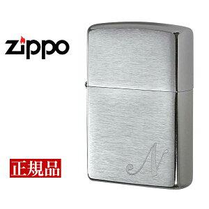【ZIPPO】 ジッポー オイルライター Initial イニシャルN US加工 シルバー INITIAL-N