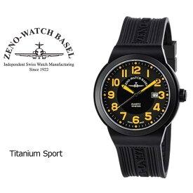 【ZENO WATCH】ゼノウォッチ チタン Titanium Sport クォーツ メンズ 腕時計 ブラック オレンジ ZN100-BK-OR