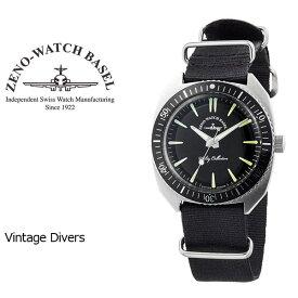 【ZENO WATCH】ゼノウォッチ ダイバーズ Vintage divers クォーツ メンズ 腕時計 ブラック ZN102-SB-NBK