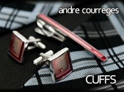 【andrecourregesアンドレ・クレージュ】カフスピンク×レッドCC6002B