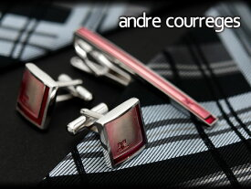 【andre courreges】アンドレ・クレージュ ネクタイピン&カフスセット ピンク×レッド CT4002B-CC6002B【ネコポス不可】