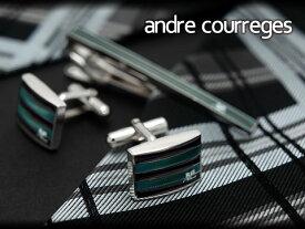 【andre courreges】アンドレ・クレージュ ネクタイピン&カフスセット グリーン×ブラック ボーダー CT4003B-CC6003B【ネコポス不可】