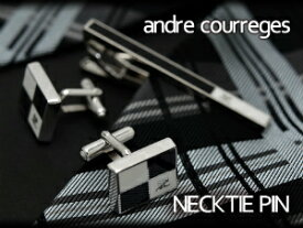 【andre courreges】アンドレ・クレージュ ネクタイピン ブラック×ホワイト CT4004B 【セットではありません】