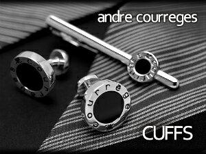 【andre courreges】アンドレ・クレージュ カフス 丸型スナップ式 オニキス シルバー×ブラック ACC12001【セットではありません】