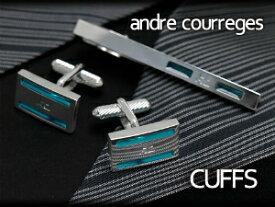 【andre courreges】アンドレ・クレージュ カフス 長方形 エポキシ シルバー×エメラルドグリーン ACC8004 【セットではありません】