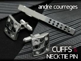 【andre courreges】アンドレ・クレージュ ネクタイピン&カフスセット スワロフスキー 正方形 シルバー×ブラック ACT4005-ACC8005【ネコポス不可】