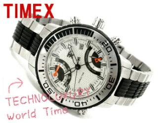 Timex 男子世界時間手錶銀色錶盤不銹鋼 / 聚氨酯皮帶 T3C408