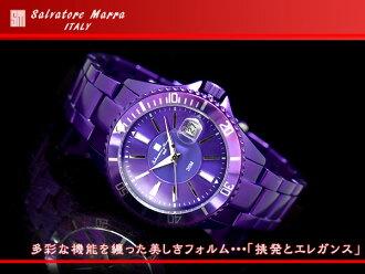 Salvatore Mara men watch metallic purple aluminum belt SM13118-PL