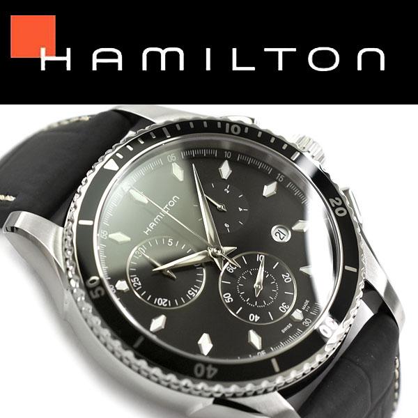 【Hamilton】ハミルトン ジャズマスター シービュー クロノグラフ クォーツ メンズ腕時計 ブラックダイアル レザーベルト H37512731【あす楽】