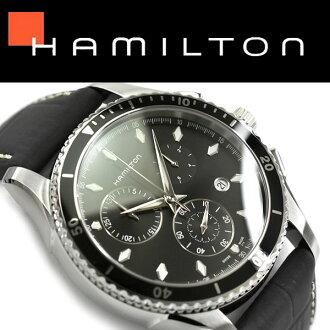 男子的汉密尔顿计时仪手表爵士主人海观点黑色拨盘黑色皮革皮带H37512731