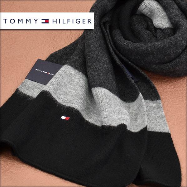 【送料無料】TOMMY HILFIGER トミー ヒルフィガー メンズマフラー ボーダー ブラック H8C73405-BK