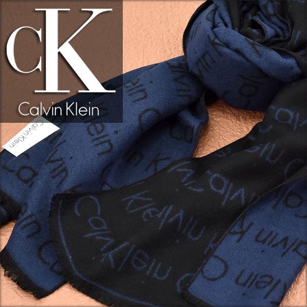 【送料無料】Calvin Klein カルバン クライン メンズマフラー ロゴ柄 ネイビー HKC73660-NV