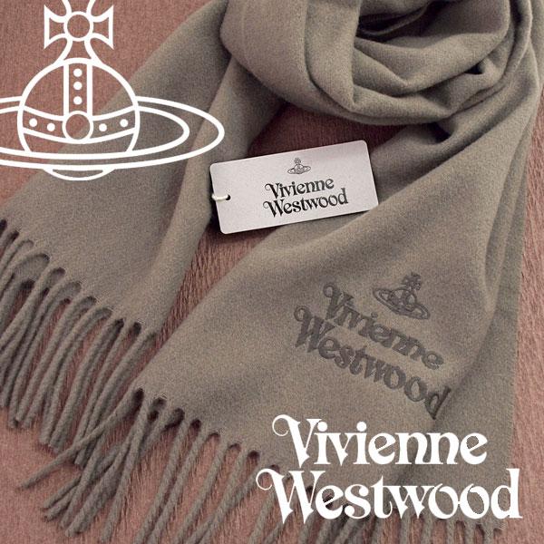 【送料無料】Vivienne Westwood 2017年新作 ヴィヴィアンウエストウッド ヴィヴィアン マフラー レディース ロゴマフラー 無地 トープ VV-B401-TAUPE