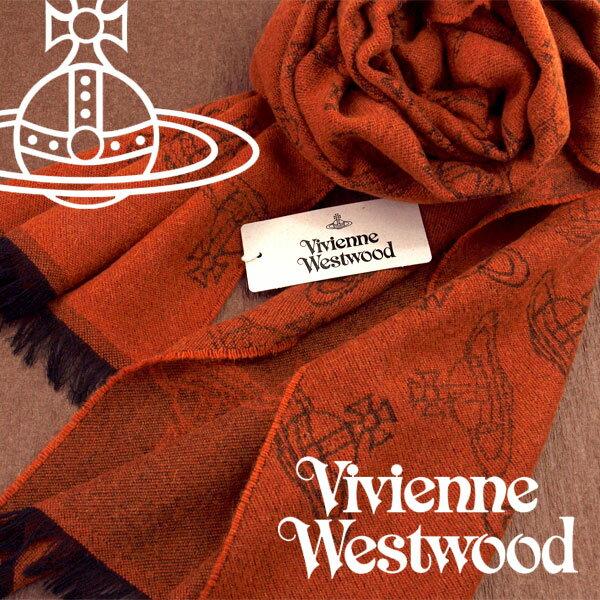 【送料無料】Vivienne Westwood 2017年新作 ヴィヴィアンウエストウッド ヴィヴィアン ストール レディース オーブロゴ柄 テラコッタ VV-F202-TRCT