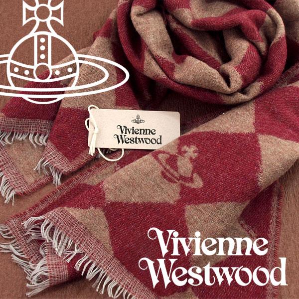 【送料無料】Vivienne Westwood 2017年新作 ヴィヴィアンウエストウッド ヴィヴィアン ストール レディース ハーリキンチェック柄 レッド キャメル VV-H204-RDCA【あす楽】