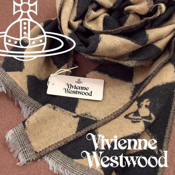 【送料無料】Vivienne Westwood 2017年新作 ヴィヴィアンウエストウッド ヴィヴィアン ストール レディース ハーリキンチェック柄 ブラック ベージュ VV-N206-BKBE