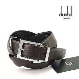 【dunhill】 ダンヒル イタリア製 メンズ ダークブラウン×ブラック レザーベルト HPV232B 【ネコポス不可】