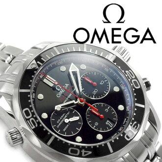 欧米茄欧米茄海马专业 300 共轴自动绕线机械计时男士手表黑色表盘不锈钢带 212.30.44.50.01.001