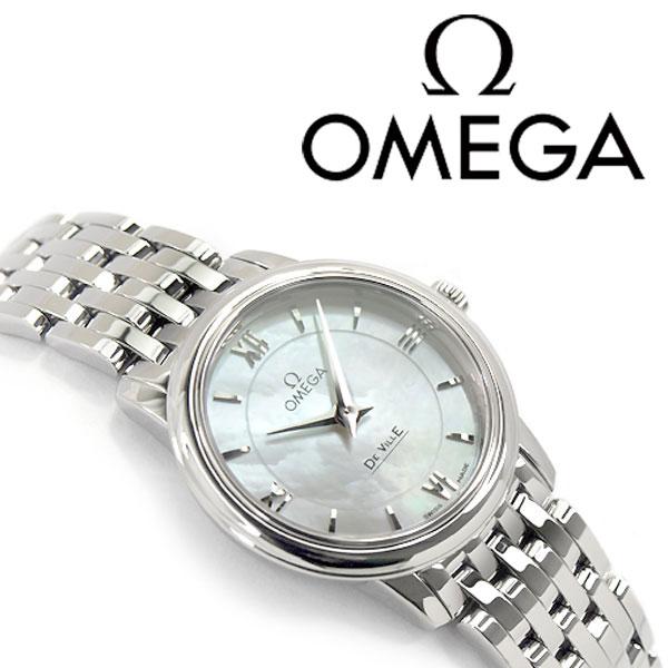 OMEGA オメガ デ・ヴィル プレステージ クォーツ レディース腕時計 シェルダイアル ステンレスベルト 424.10.27.60.05.001