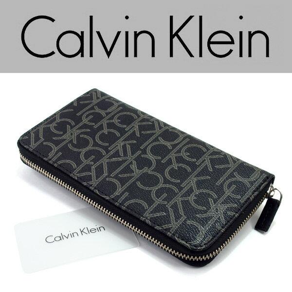 【Calvin Klein】カルバンクライン メンズ レディース 長財布 ラウンドファスナー レザー ウォレット ブラック ブランドロゴ柄 79468-BLK【あす楽】