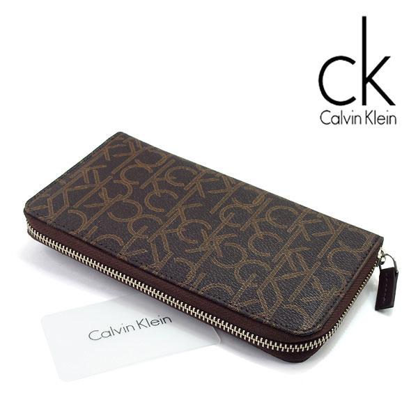 【Calvin Klein】カルバンクライン メンズ レディース 長財布 ラウンドファスナー レザー ウォレット ブラウン ブランドロゴ柄 79468-CHO【あす楽】