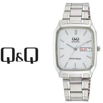 居民西鐵城Q&Q球桿球桿Day&Date日&日期人手錶白×銀子A182-201