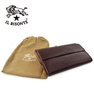 ILBISONTE ilbizonte 真皮钱包长钱包男女真皮钱包暗棕色 C0911-P-455