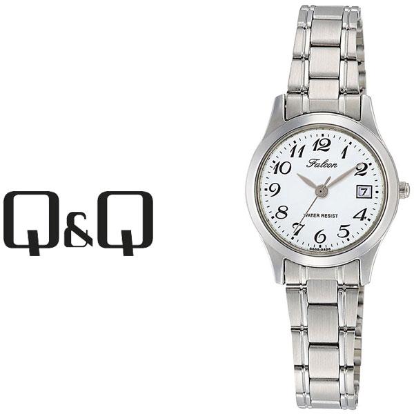 【ネコポス配送で送料無料】【レビューを書いて1年保証】シチズン CITIZEN Q&Q キューキュー Falcon ファルコン レディース 腕時計 ホワイト × シルバー D009-204【あす楽】